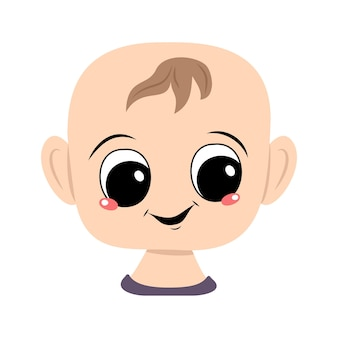 Avatar of a child with big eyes and a wide happy smile. head of a toddler with a joyful face