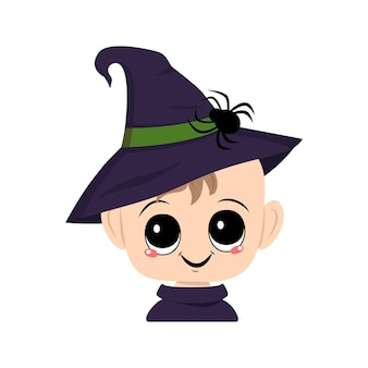 Avatar of a child with big eyes and a wide happy smile in a pointed witch hat with a spider the head...