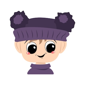 Avatar of a child with big eyes and a wide happy smile in a violet hat with a pom pom. head of a toddler with a joyful face