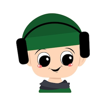 Avatar of a child with big eyes and a wide smile in a green hat with headphones. a cute kid with a joyful face in an autumnal or winter headdress and scarf. head of adorable baby with happy emotions