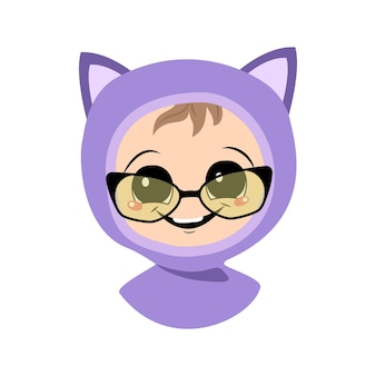 Avatar of a child with glasses, big eyes and a wide smile in a cat hat. a cute kid with a joyful face in an autumnal or winter headdress. head of adorable baby with happy emotions