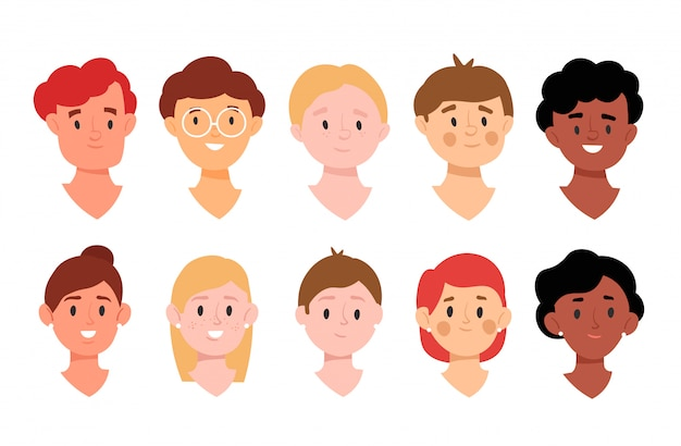 Avatar collection for app. diversity people concept.