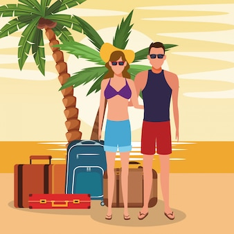 Avatar couple with suitcases at the beach