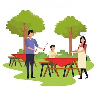 屋外のピクニックタイムのアバター家族