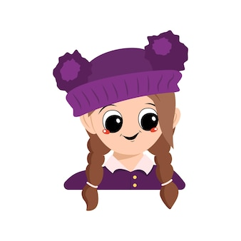Avatar of a girl with big eyes and a wide happy smile in a purple hat with a pompom. head of a child with a joyful face