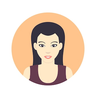 Avatar icon, girl, woman in flat style on white, vector illustration