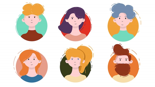 Avatar icon set. isolated male and female portraits on a circle  in modern linear flat style. social media template userpic and profiles.