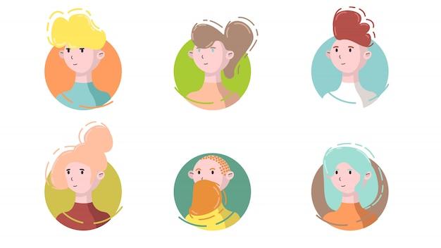 アバターアイコンセットの側面図。モダンなリニアフラットスタイルのサークルの孤立した男性と女性の肖像画。ソーシャルメディアテンプレートuserpicおよびプロファイル。