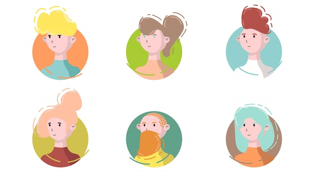 Avatar icon set side view. isolated male and female portraits on a circle  in modern linear flat style. social media template userpic and profiles.