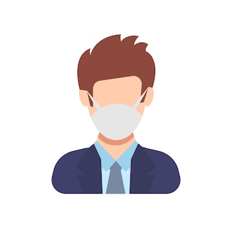 보호용 얼굴 마스크를 쓴 아바타 아이콘입니다. 의료 마스크와 평면 스타일의 남성입니다. 벡터 일러스트 레이 션