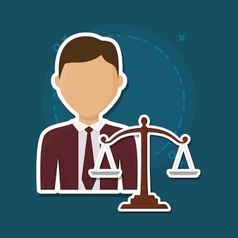 Avatar lawyer and scale icon