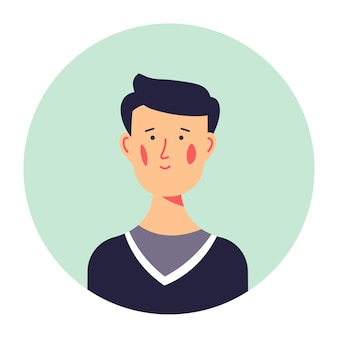Avatar of male character of young age, isolated portrait of teenager in sweater. personage photo for social media or cv, student of high school or university college. friendly guy vector in flat
