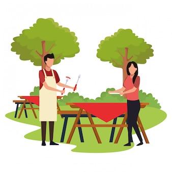 屋外のピクニックでアバターの男女