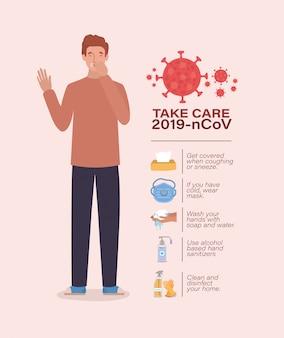 Avatar man take care 2019 ncov virus design