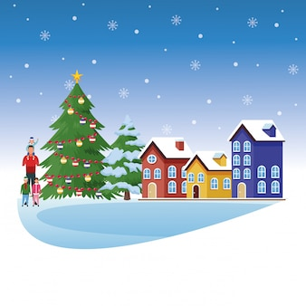 Avatar man with little kids and merry christmas landscape illustration