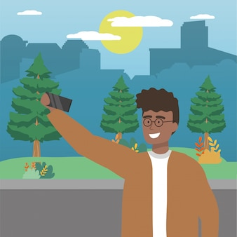 Avatar man with smartphone taking a selfie