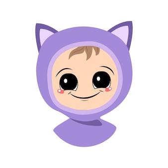 大きな目と猫の帽子の広い笑顔を持つ子供のアバターは、auで楽しい顔をしたかわいい子供...