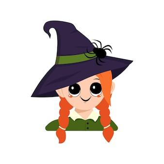 Аватарка девушки с рыжими волосами, большими глазами и широкой счастливой улыбкой в остроконечной шляпе ведьмы с пауком. голова ребенка с радостным лицом. украшение вечеринки на хэллоуин