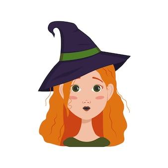 붉은 곱슬머리, 놀란 감정, 열린 눈, 마녀 모자를 쓴 둥근 입을 가진 여성의 아바타. 할로윈 정장에 주근깨가 있는 소녀