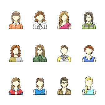 Avatar set of different woman character in line style. female, girl, business woman avatars.