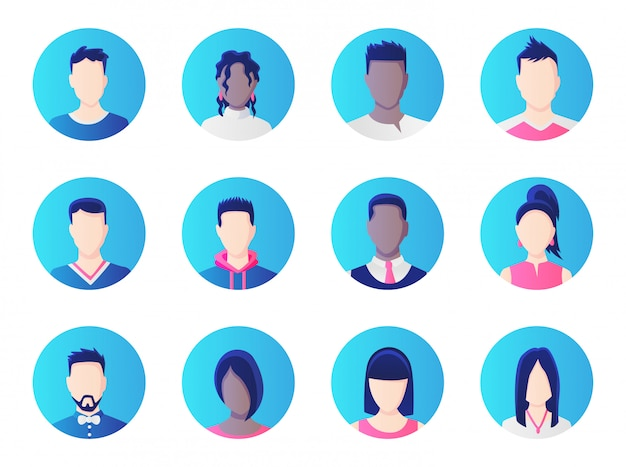 아바타 세트. 작업 사람들의 다양성, 다양 한 사업 남자와 여자 아바타 아이콘의 그룹입니다.