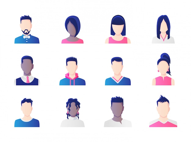 Avatar set. group of working people diversity, diverse business men and women avatar icons.  illustration of flat design people characters.