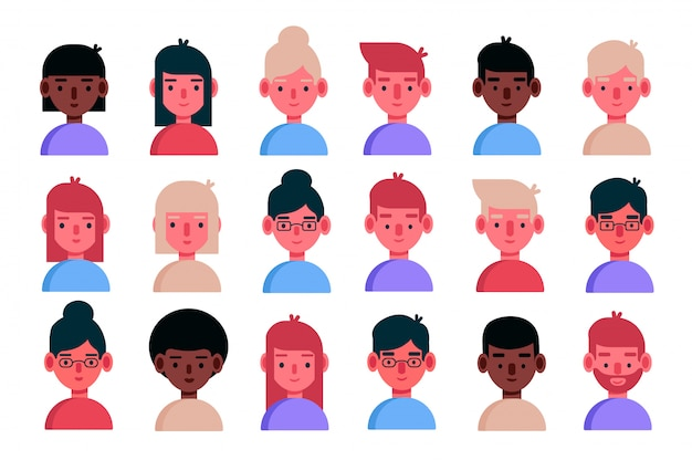 Avatar set isolated on white background. diverse faces, happy expressions. cute and simple flat cartoon style.