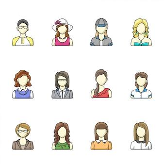 Аватар набор символов другой женщины в стиле линии. женщина, девушка, деловая женщина аватары.
