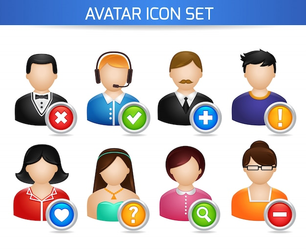 Avatar social networks icons set of forums users profile with options isolated on white vector illustration Free Vector
