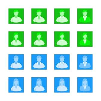 아바타 사용자 아이콘 웹 플랫 색상 웹 및 모바일용 아바타의 벡터 컬렉션에 직면