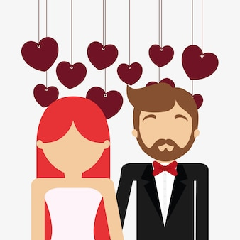 Avatar wedding couple and decorative hearts hanging