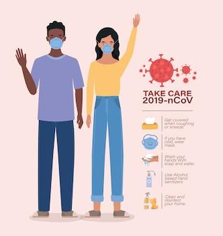 Avatar woman and man take care 2019 ncov virus design