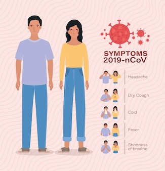 Avatar woman and man with 2019 ncov virus symptoms design