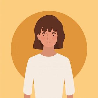 白いtシャツのデザイン、女の子女性人人とアバター女人とソーシャルメディアのテーマイラスト