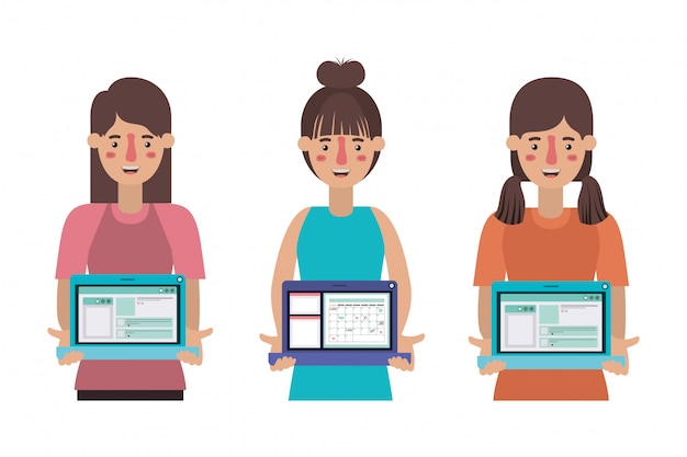 Avatar women and elearning concept