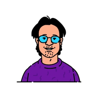 Avatar of a young man with glasses nerd or geek brand character for the logo