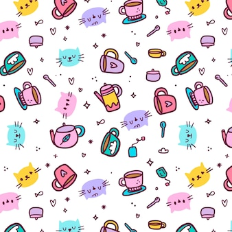 Avatars of cats and mugs seamless pattern