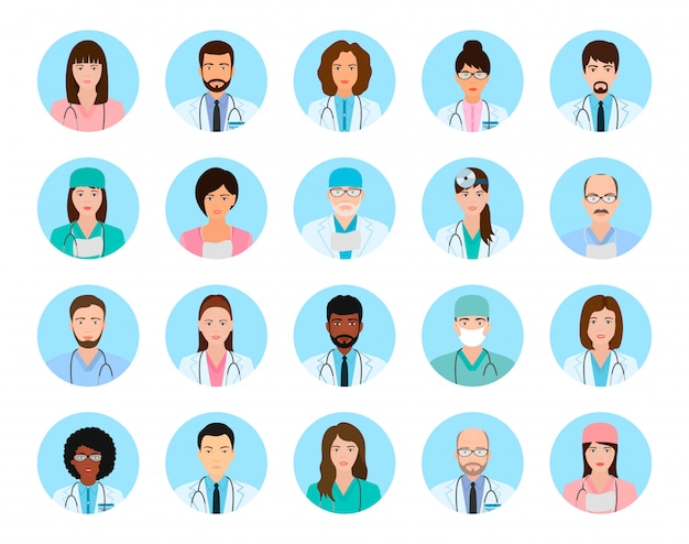 Avatars characters doctors and nurses set. medical people icons of faces on a blue .