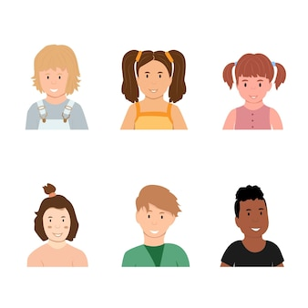 Avatars childrengirls and boys of different appearance and nationality