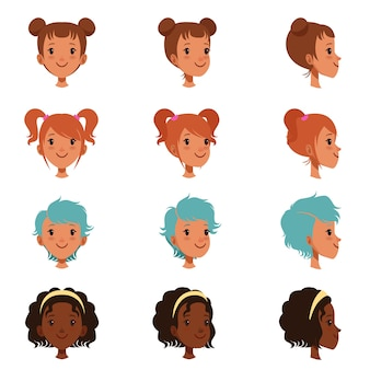 Avatars of female faces with different haircuts and hairstyles