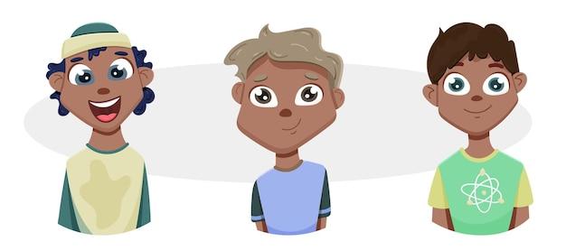 Tシャツを着た黒人男性のアバター。見上げるかわいいキャラクター