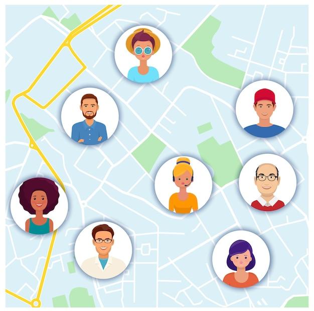 地図上の人々のアバターソーシャルネットワークとインターネット通信の概念ベクトル図