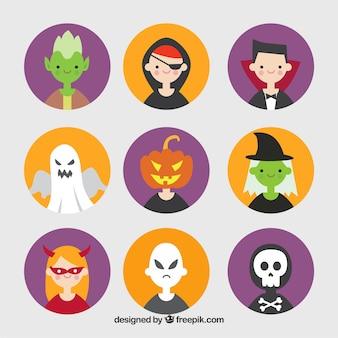 Набор аватаров с костюмами хэллоуина в плоском дизайне