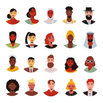 Avatars of people with different hairstyle and skin