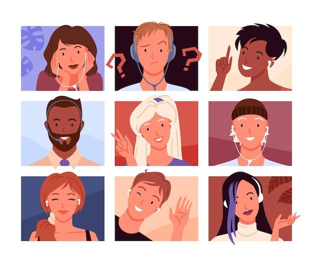 아바타 초상화 프로필. 사각형 모양의 컬렉션에서 만화 젊은 여자와 남자 머리, 행복한 여자 또는 웃는 남자의 다양한 아바타