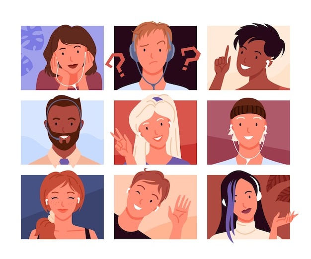 Avatars portrait profile. cartoon young woman and man heads in square shape collection, avatar diverse of happy girl or guy smiling
