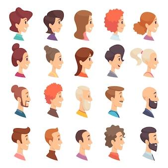 아바타 프로필. 사람 남성과 여성의 다른 연령대 노인 수염 머리 미소 소녀와 남자 캐릭터.