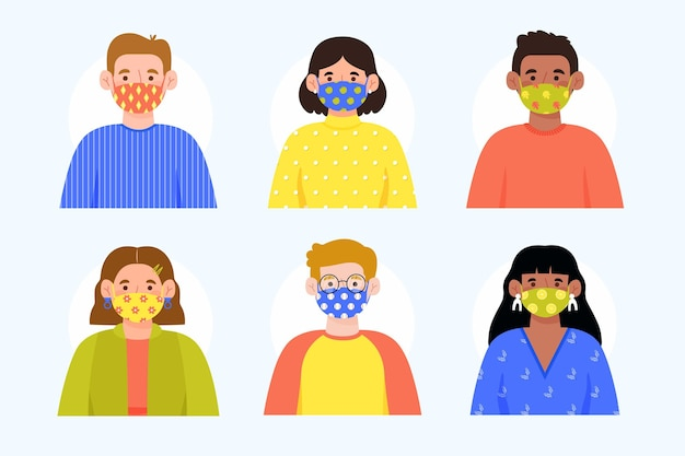 Avatars wearing dotted fabric face masks