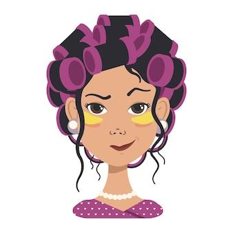 さまざまな感情を持つアバター。ピンクのカーラーと黄色のパッチを持つ女の子。フラットベクトルアートのファッションアバター