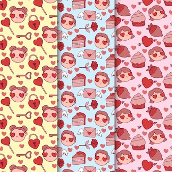 Avatars with heart shaped eyes valentine pattern